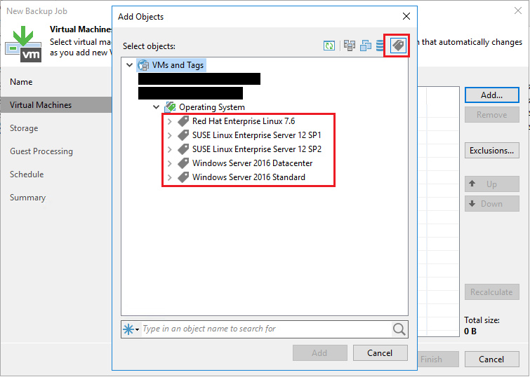 Veeam Add Objects From Tag