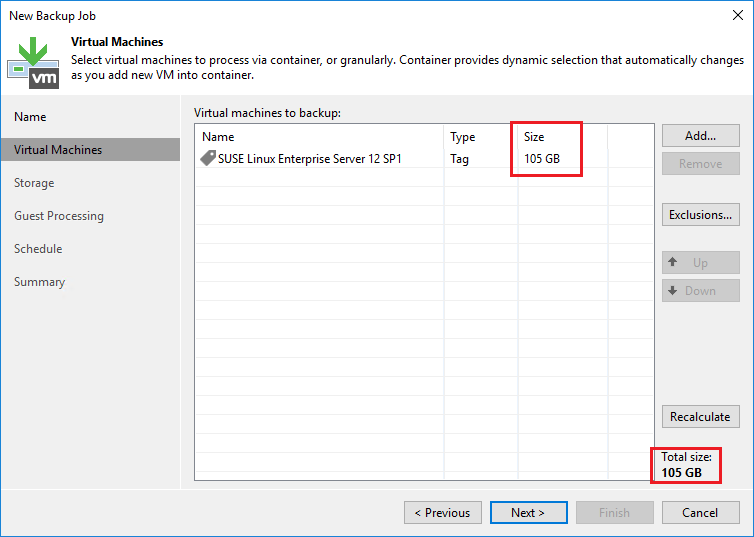 Veeam Calculated Tag Size