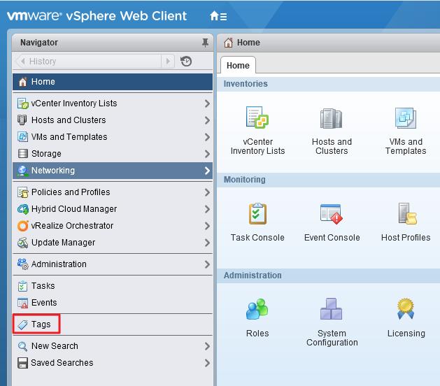 vSphere WebClient Tags