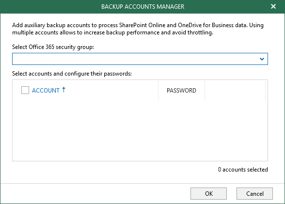 Veeam Office365 Backup Accounts