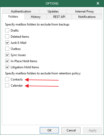 exclude calendar and contacts