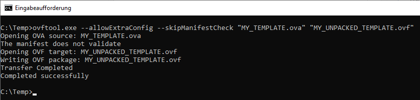 Unpacking with OVF Tool