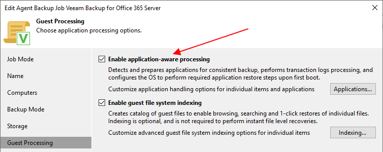 Veeam Backup for Office 365 Application Aware Image Processing