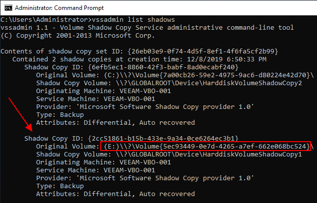 Veeam Backup for Office 365 successful VSS snapshot