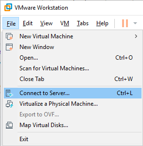 VMware Workstation connect to server