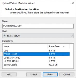 select VMware vSphere datastore