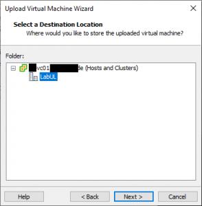 select VMware vSphere destination
