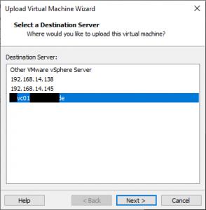 select VMware vSphere Host or vCenter