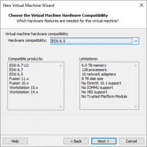 select virtual machine hardware version