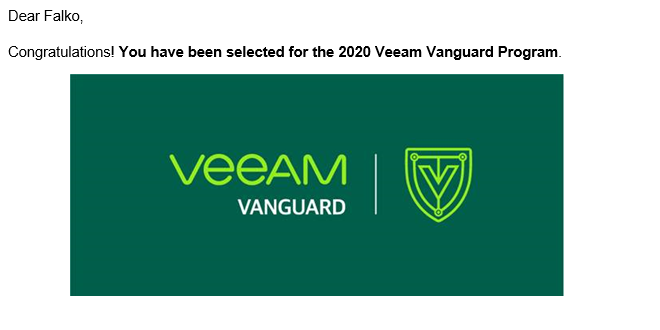 Veeam Vanguard 2020